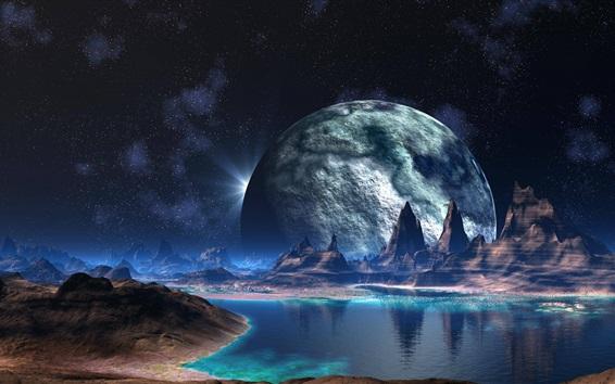 배경 화면 산, 호수, 행성, 창조적 인 디자인