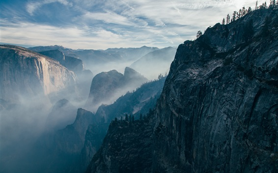 Wallpaper Mountains, rock, cliff, trees, fog, morning