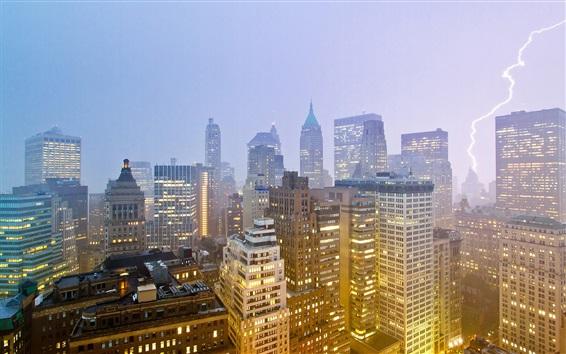 Wallpaper New York, night, skyscrapers, lightning, USA