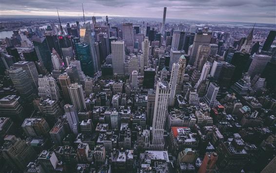 Обои Нью-Йорк, небоскребы, США, вид сверху, сумерки