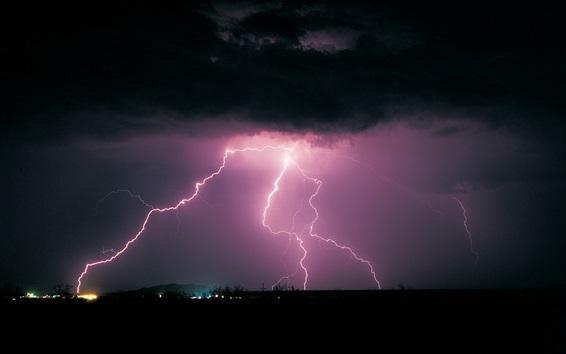 Wallpaper Night, clouds, lightning