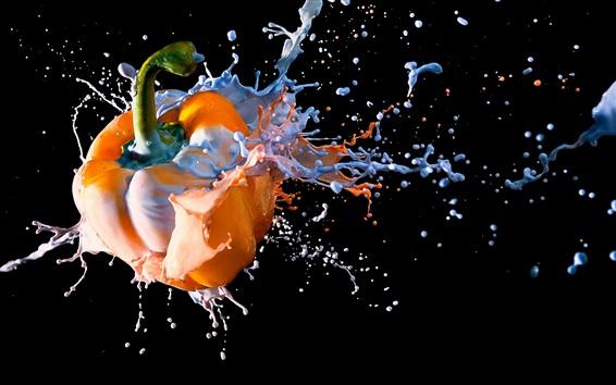 Wallpaper Orange chili, water splash, black background