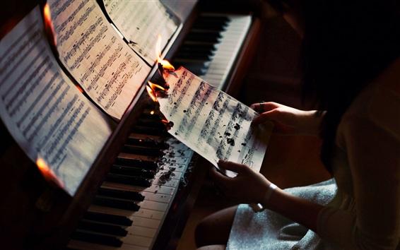 Papéis de Parede Papel, música, queima, piano