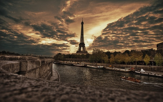 Wallpaper Paris, France, Eiffel Tower, night, river, boats, trees, clouds, dusk