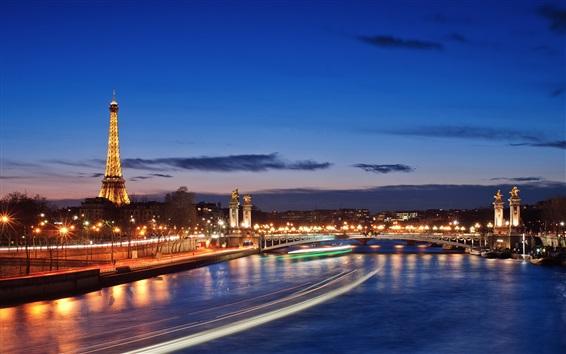 Fond d'écran Paris, France, Seine, Tour Eiffel, nuit, lumières
