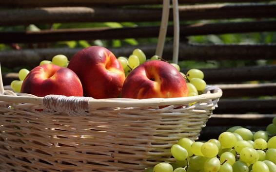 Wallpaper Peaches, grapes, basket, fruit
