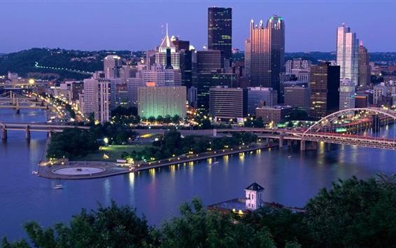 Wallpaper Pennsylvania, Pittsburgh, skyscrapers, city, river, dusk, USA