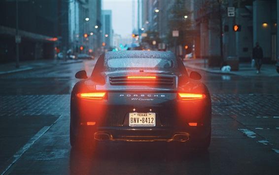 Wallpaper Porsche 911 Carrera supercar back view, water drops, city, road