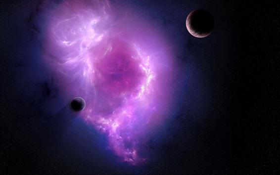 Fondos de pantalla Nebulosa púrpura y planetas