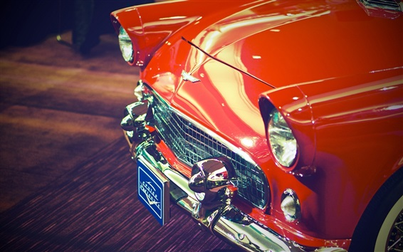 Wallpaper Red classic car front view, headlight