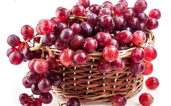 Wallpaper Red grapes, basket, fresh fruit