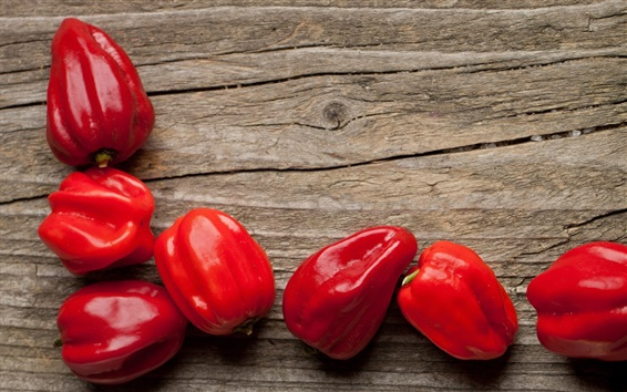 Wallpaper Red peppers, wood background, vegetables