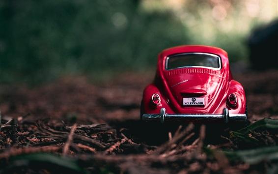 壁紙 赤いおもちゃの車のバックビュー