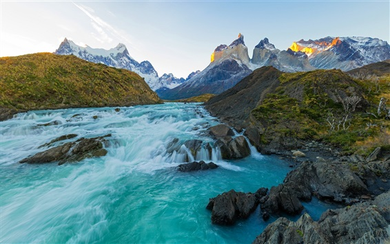Wallpaper River, mountains, Chile landscape