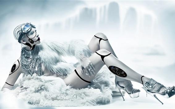 Wallpaper Robot girl, creative design