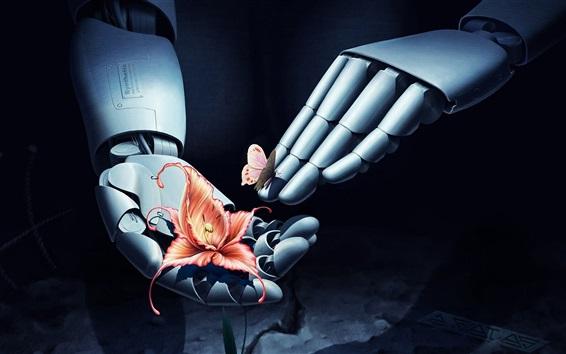 Wallpaper Robot hands, flower, butterfly