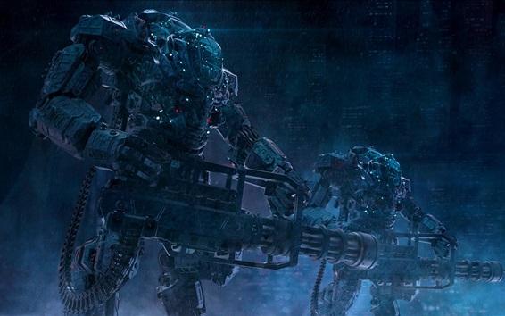배경 화면 로봇, 판타지 아트, 군인