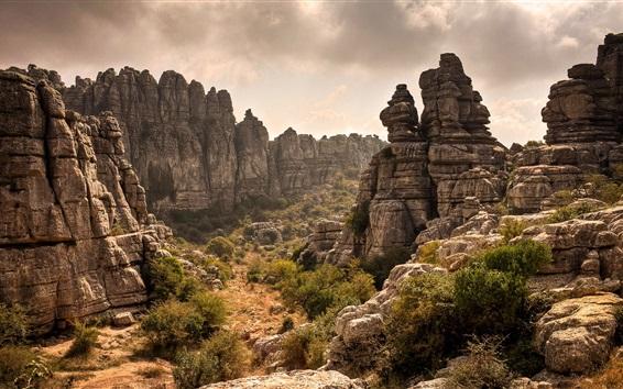 壁紙 岩、山、崖、雲
