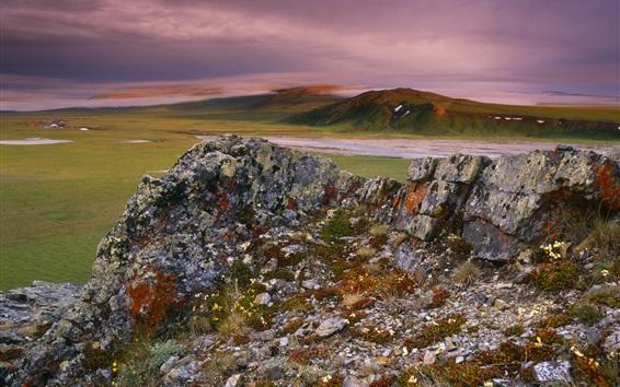 壁紙 岩、山、丘、夕暮れ、雲
