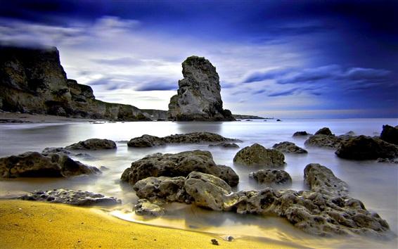 Обои Скалы, море, облака, сумерки