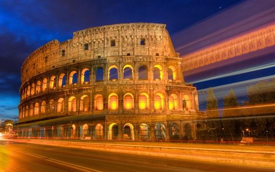 Wallpaper Roman colosseum night view, lights, road