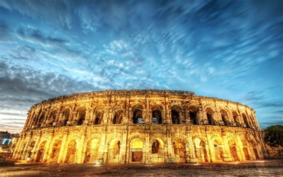 Fondos de pantalla Roma, Italia, Coliseo, luces, noche, cielo azul