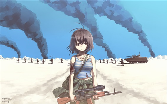 Wallpaper Sad girl, army, war, anime