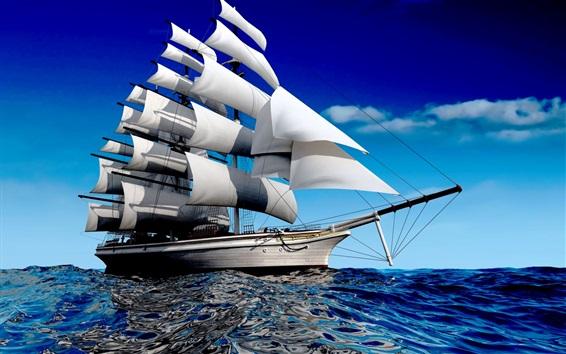Wallpaper Sailboat, sea, blue