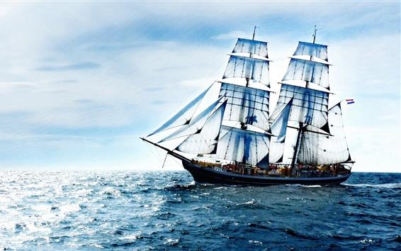Wallpaper Sailboat, sea, waves