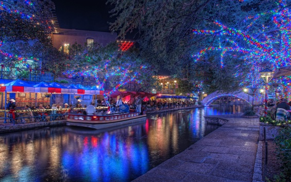 Wallpaper San Antonio, Texas, USA, christmas, night, river, bridge, lights