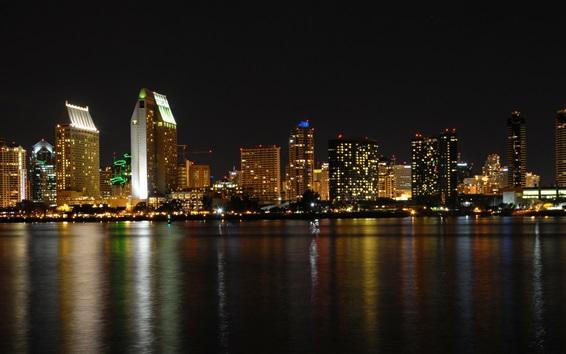 Wallpaper San Diego, city, night, buildings, river, lights, USA