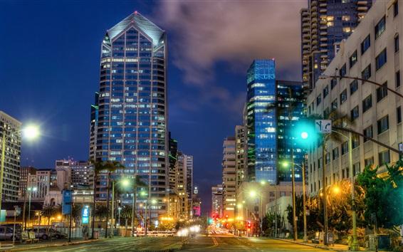 Fondos de pantalla San Diego, vista nocturna, ciudad, calle, edificios, luces, Estados Unidos