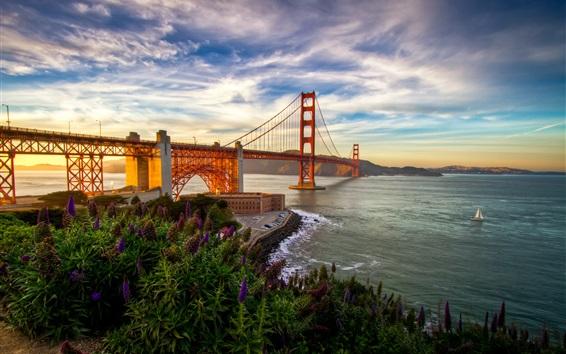 Обои Сан-Франциско, мост, море, Калифорния, США