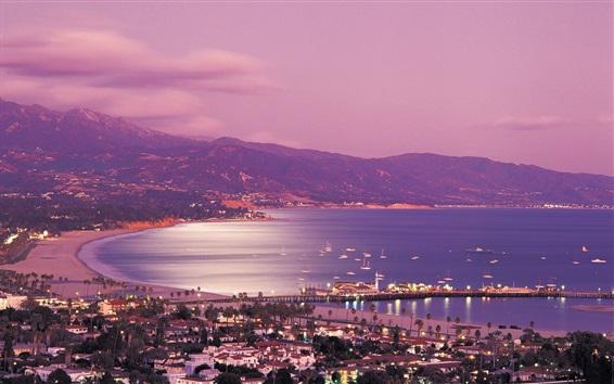 Fondos de pantalla Santa Barbara, California, EE.UU., noche de la ciudad, mar, costa, luces