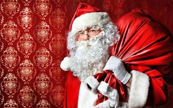Wallpaper Santa Claus, glasses, gift bag, Christmas
