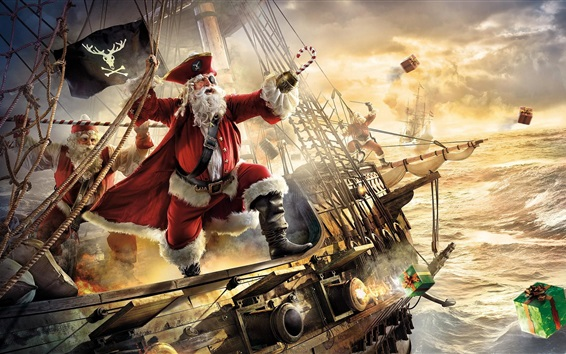Wallpaper Santa Claus, pirate, ship, gifts, sea, art picture