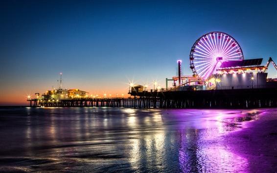 Wallpaper Santa Monica, pier, ferris wheel, night, lights, sea, California, USA