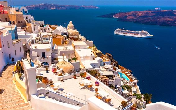Wallpaper Santorini, Greece, houses, sea, ship, sunshine