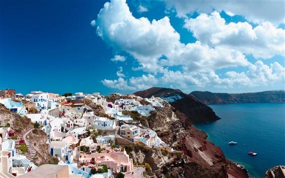 Обои Санторини, Греция, остров, море, город, дома