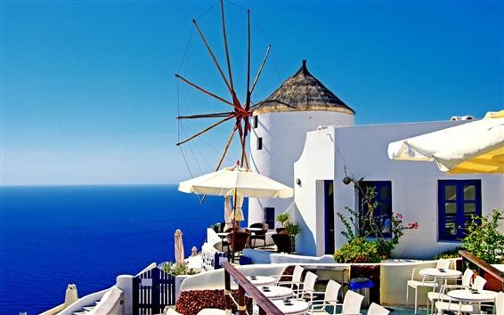 Papéis de Parede Santorini, Grécia, casas brancas, mar azul, luz do sol