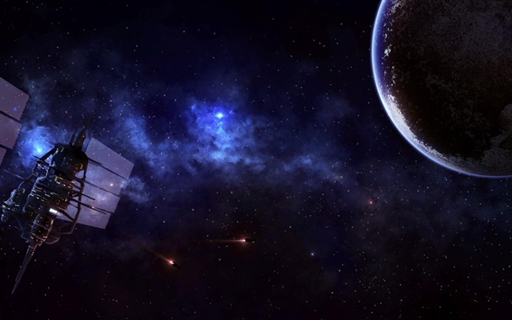 Wallpaper Satellite, space, planet, spaceship, stars