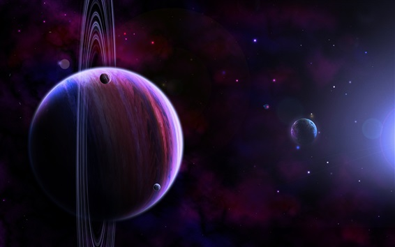 Wallpaper Saturn, planets, darkness, spots, universe