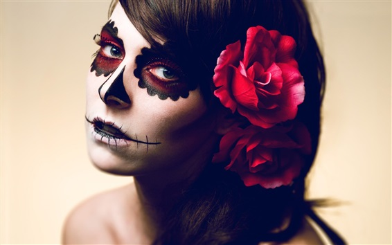 Fond d'écran Fille de maquillage effrayant, fleur rose