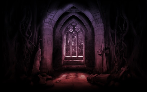 Wallpaper Scary, room, dark, window