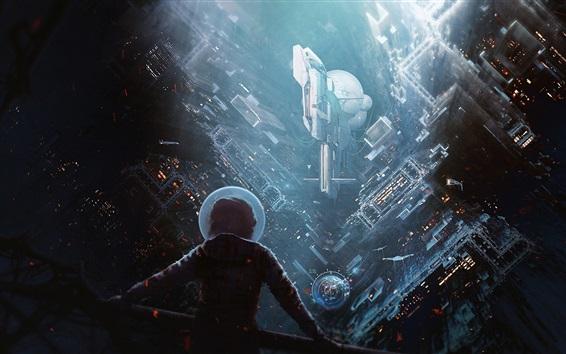 Wallpaper Science fiction, future city, rainy, buildings