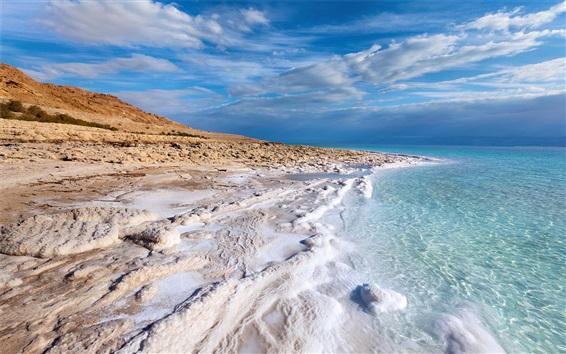 Wallpaper Sea, coast, blue water, clouds