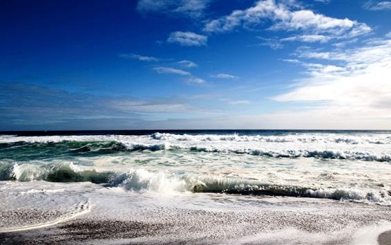 Обои Море, пена, волны, облака