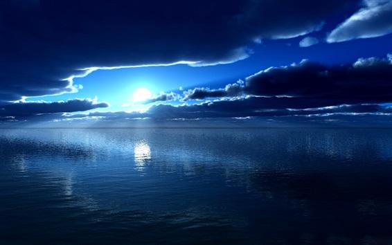 Fond d'écran Mer, lune, bleu, nuit, nuages