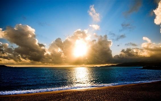 Papéis de Parede Seascape, mar, nuvens, pôr do sol, sol, praia