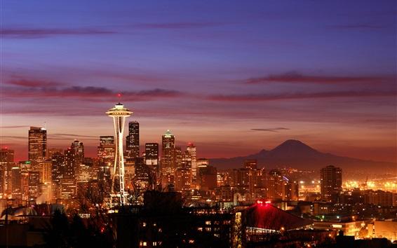Wallpaper Seattle, skyscrapers, night, lights, city, USA